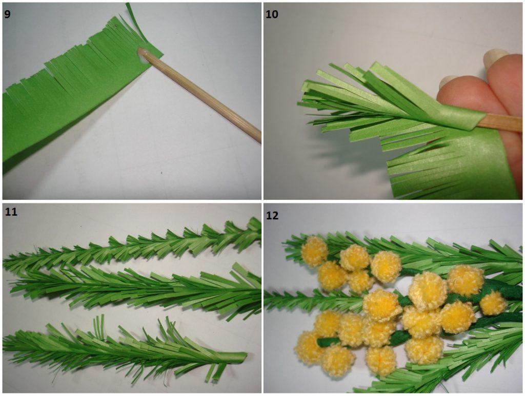Изготовление листьев мимозы из бумаги