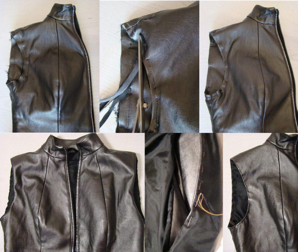 Изготовление жилета из кожаной куртки