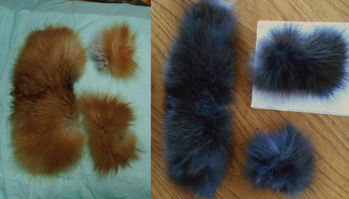 Натуральный мех до и после окрашивания краской для волос