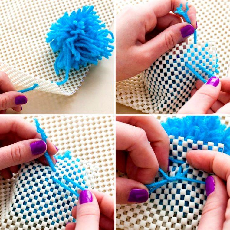 Коврик из ниток помпонов для вязания 38