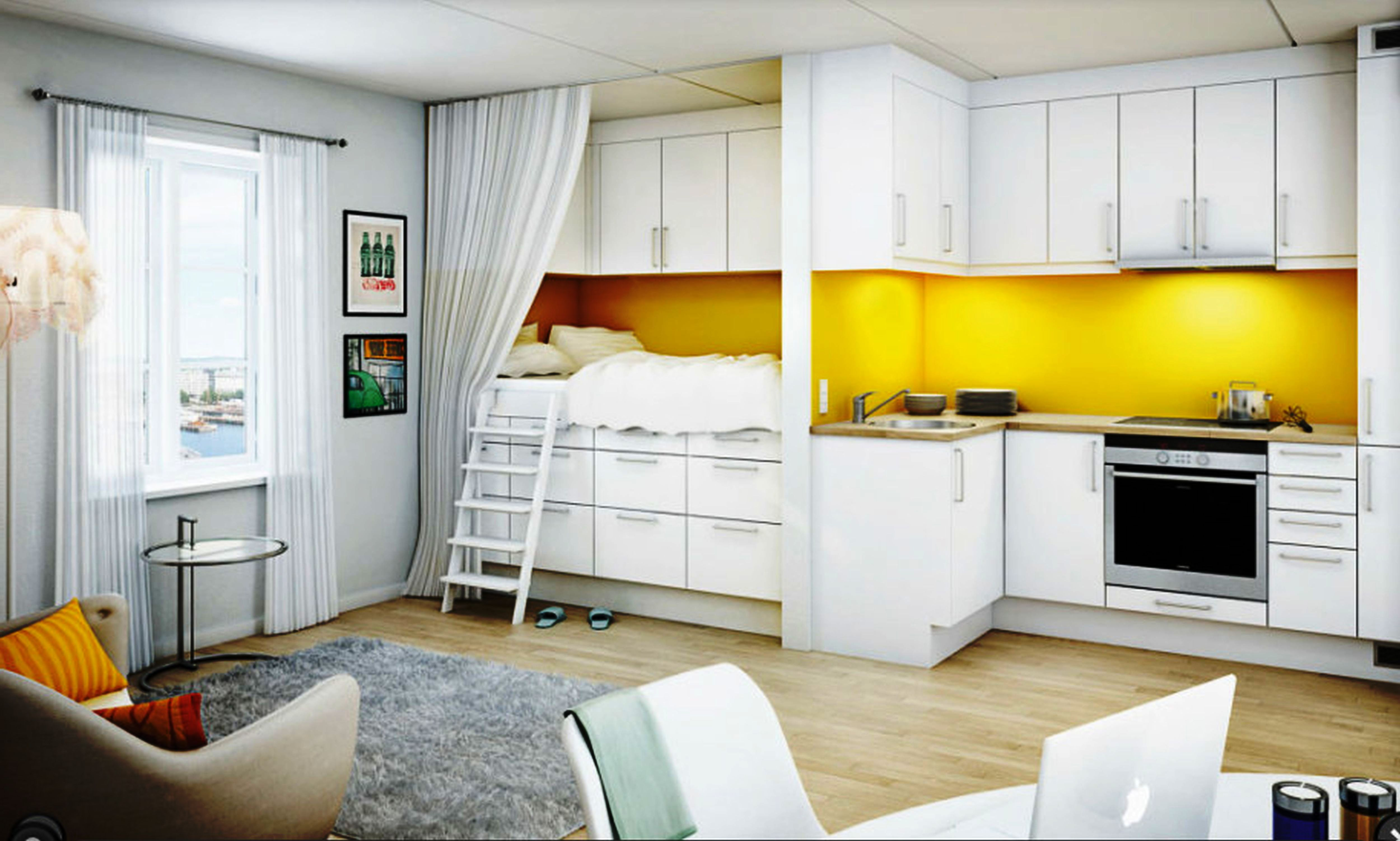 Как правило дизайн квартиры-студии 18 кв. м предполагает отсутствие перегородки между кухней и основным жилым пространством