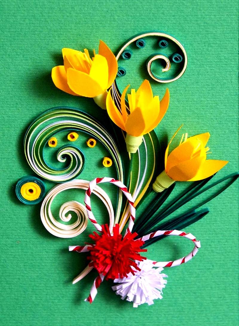 Открытка с тюльпанами квиллинг