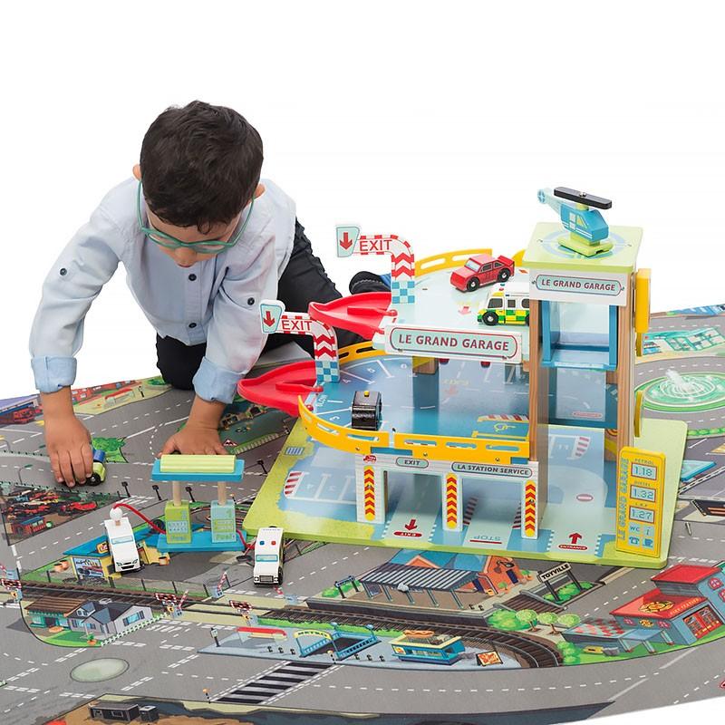 Детский ковер с дорогами и гаражом