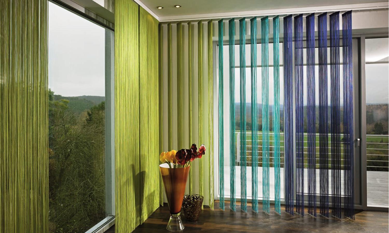 Нитяные шторы в гостиной
