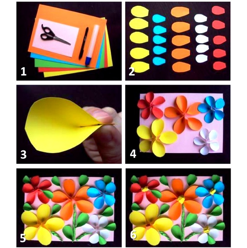 Объемная открытка с цветами на 8 Марта