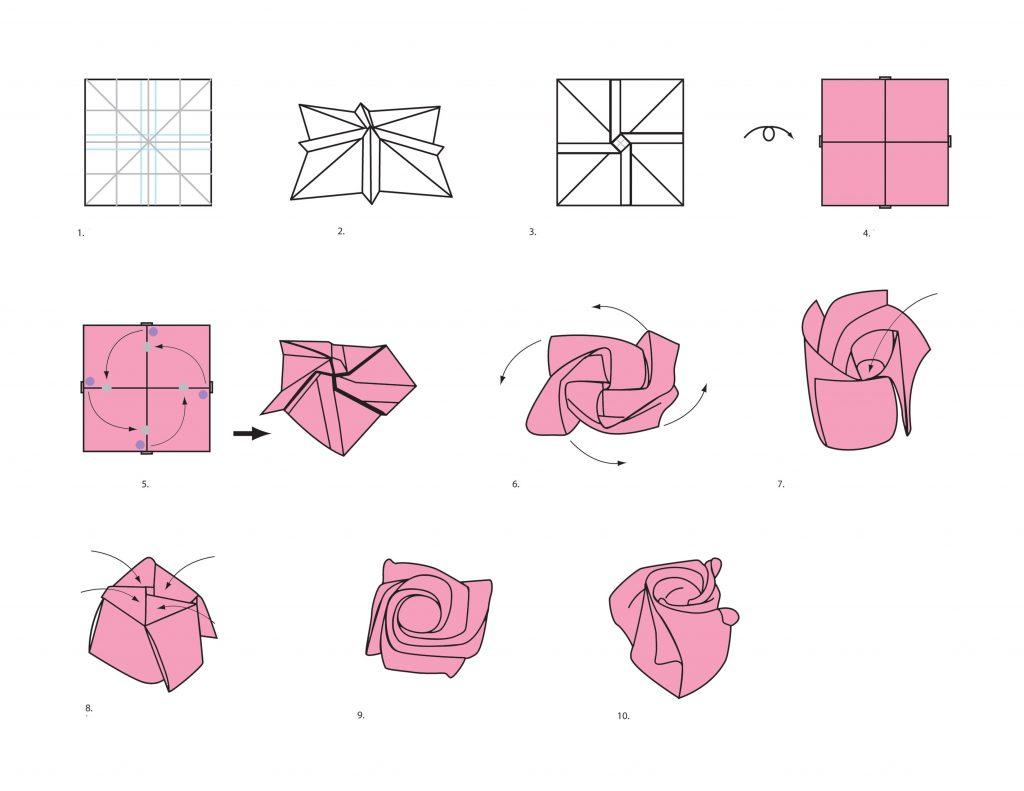 Роза в технике оригами