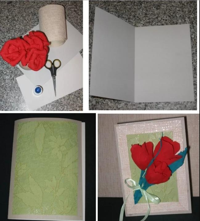Открытка с цветами из гофрированной бумаги