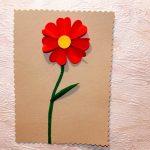 Фото 8: Открытка на 8 марта с красным цветком