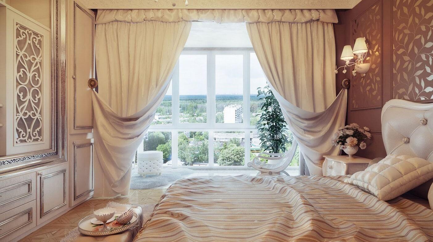 Портьеры в спальне