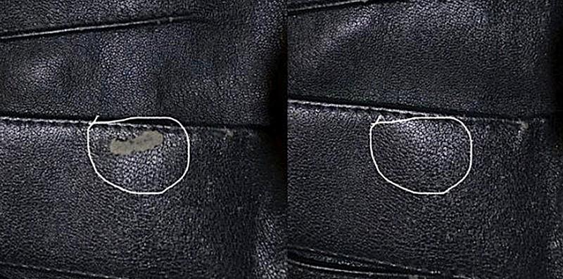 Ремонт при помощи жидкой кожи До и После