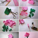 Фото 52: Бумажная роза своими руками