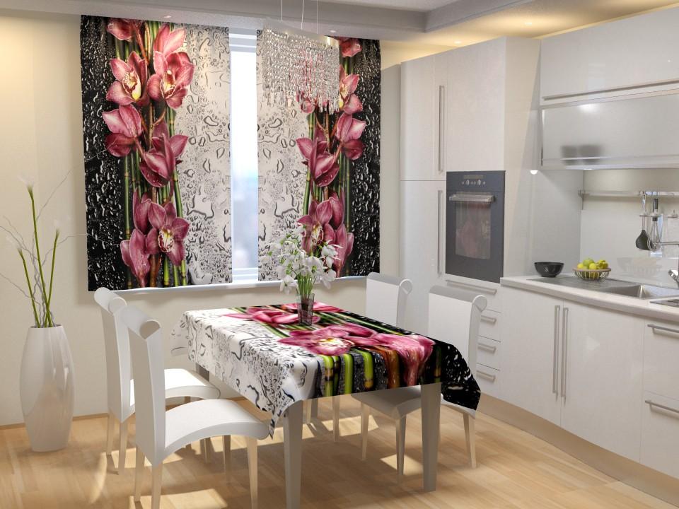 Фотошторы на кухне с цветочным принтом