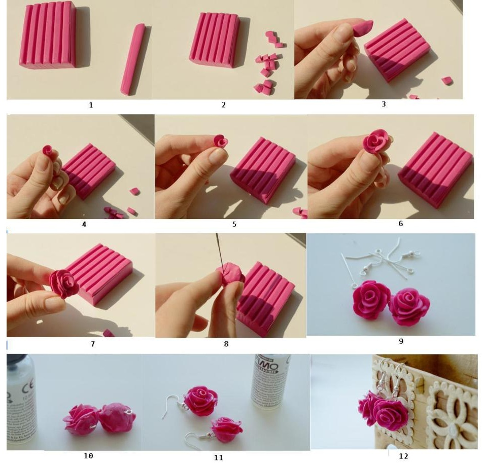 Сережки-роза из полимерной глины