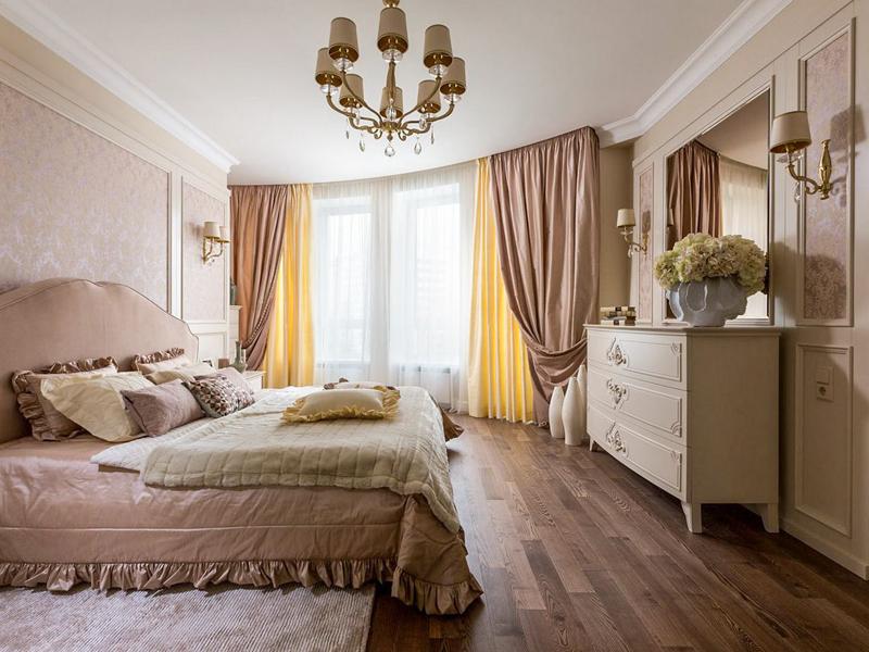 Многослойные шторы в спальне