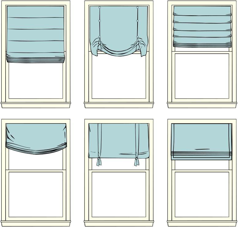 Варианты складок римских штор