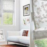 Фото 28: Светлые римские шторы с рисунком