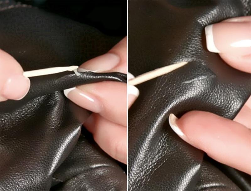Прижимание склеенных краев зубочисткой