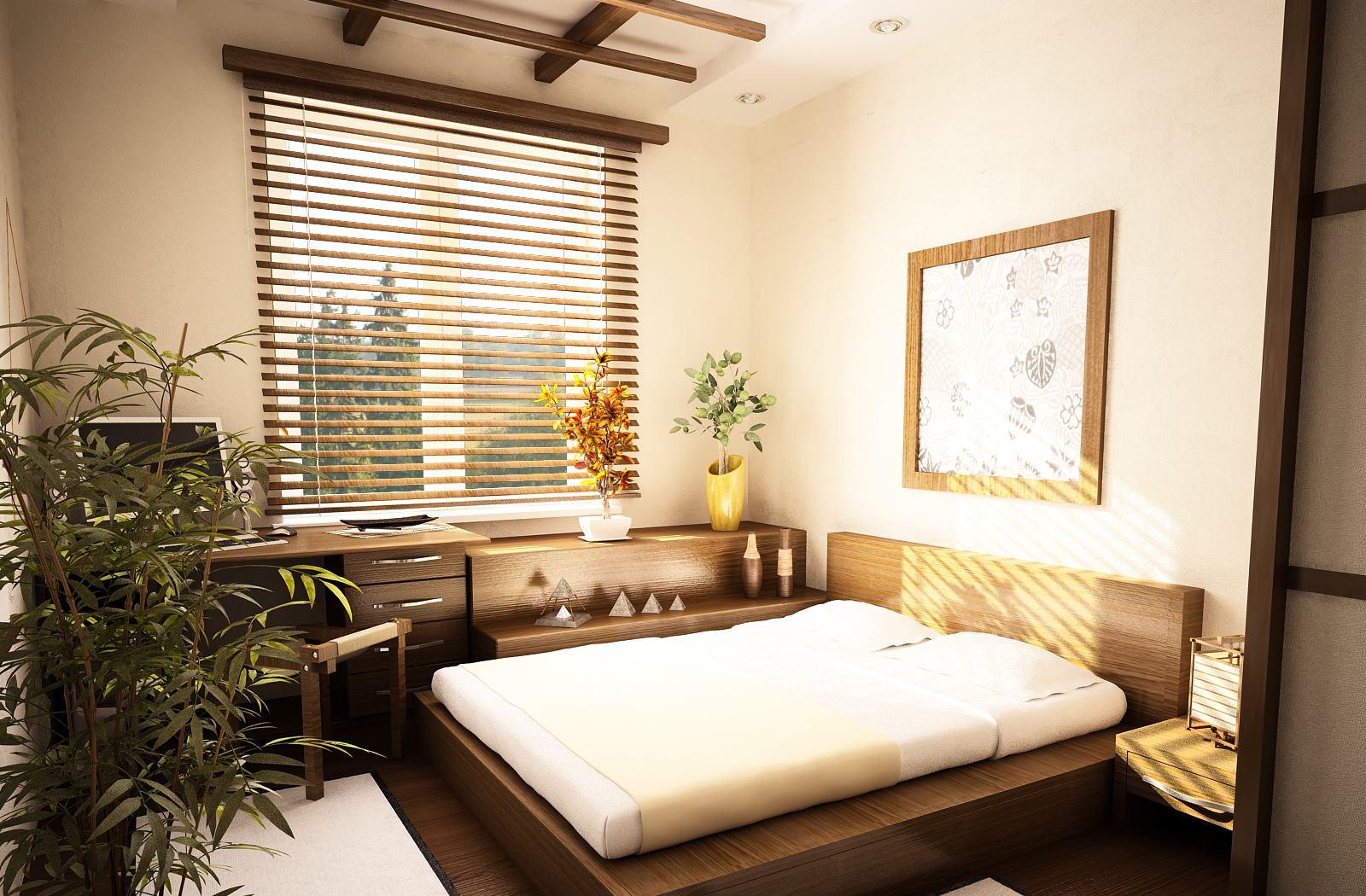 Деревянные шторы - жалюзи для спальни