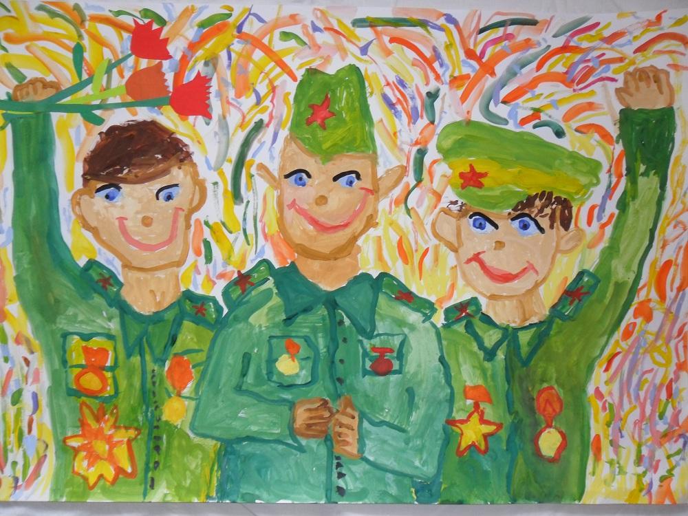 Рисунок с солдатами в военной форме ко Дню Защитника Отечества