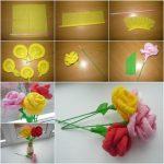 Фото 66: Розы из гофрированной бумаги при помощи коктельной трубочки