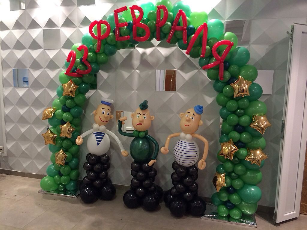 Фигуры из шариков на 23 февраля
