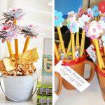 Фото 53: Букет из карандашей и бумажных цветков