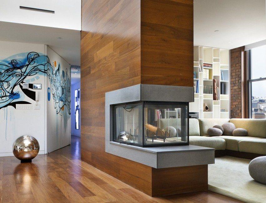 Камин в современном интерьере гостиной