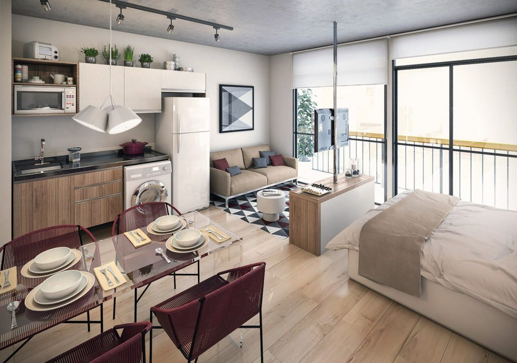 Благодаря правильному расположению, только в квартире-студии смогут без проблем уживаться кухня, гостиная и спальня
