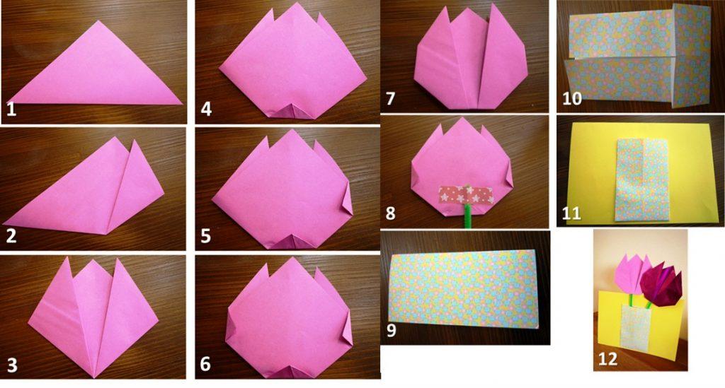 Открытка-оригами с тюльпаном