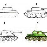 Фото 18: Рисунок танка поэтапно