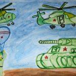 Фото 19: Рисунок с военной техникой ко Дню Защитника Отечества