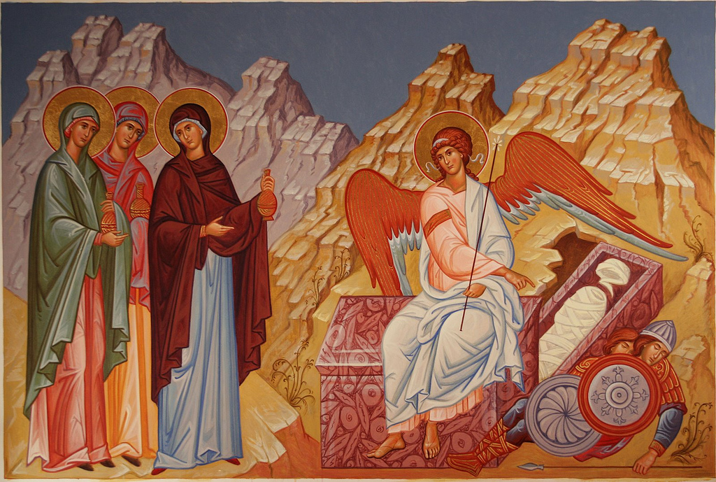 Явление ангела в Христово Воскресенье и вознесение тела Христ
