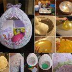 Фото 63: Изготовление пасхальной поделки из ниток и шарика