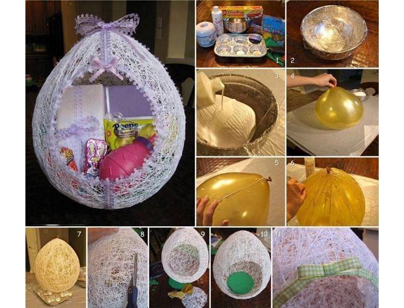 Изготовление пасхальной поделки из ниток и шарика
