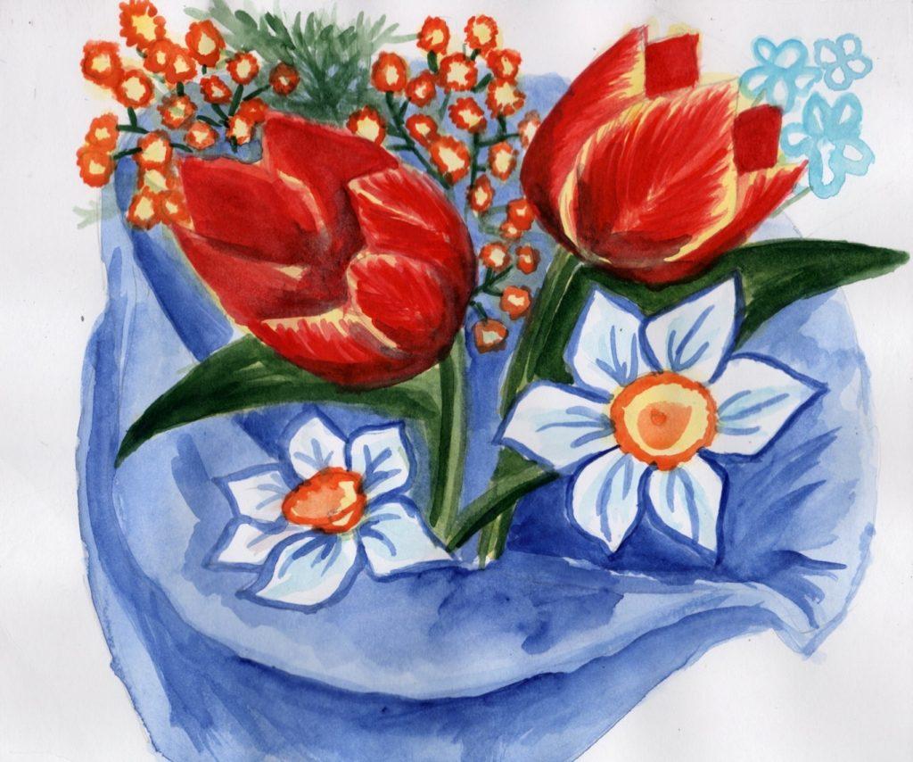 Букет цветов для мамы на рисунке