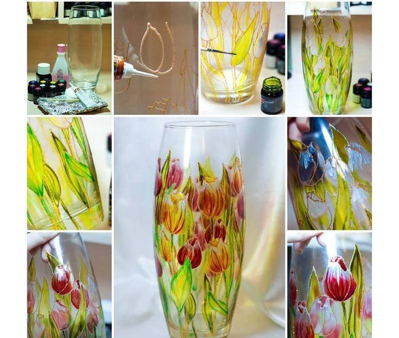 Украшение вазы витражным рисунком