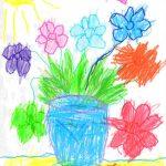 Фото 29: Рисунок цветов в вазе на 8 Марта
