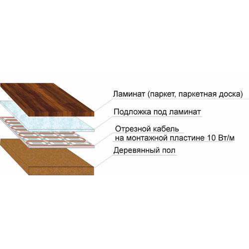 Кабель на пластине на деревянное основание под ламинат