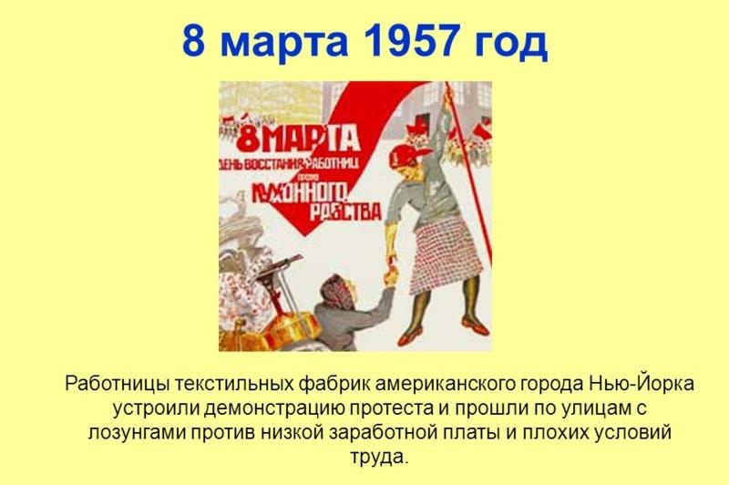 История появления праздника 8 Марта