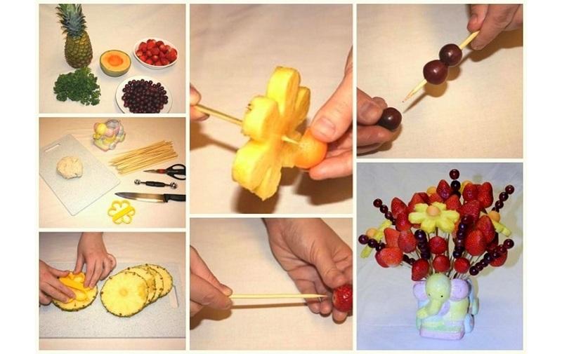 Цветы из ананасов и винограда
