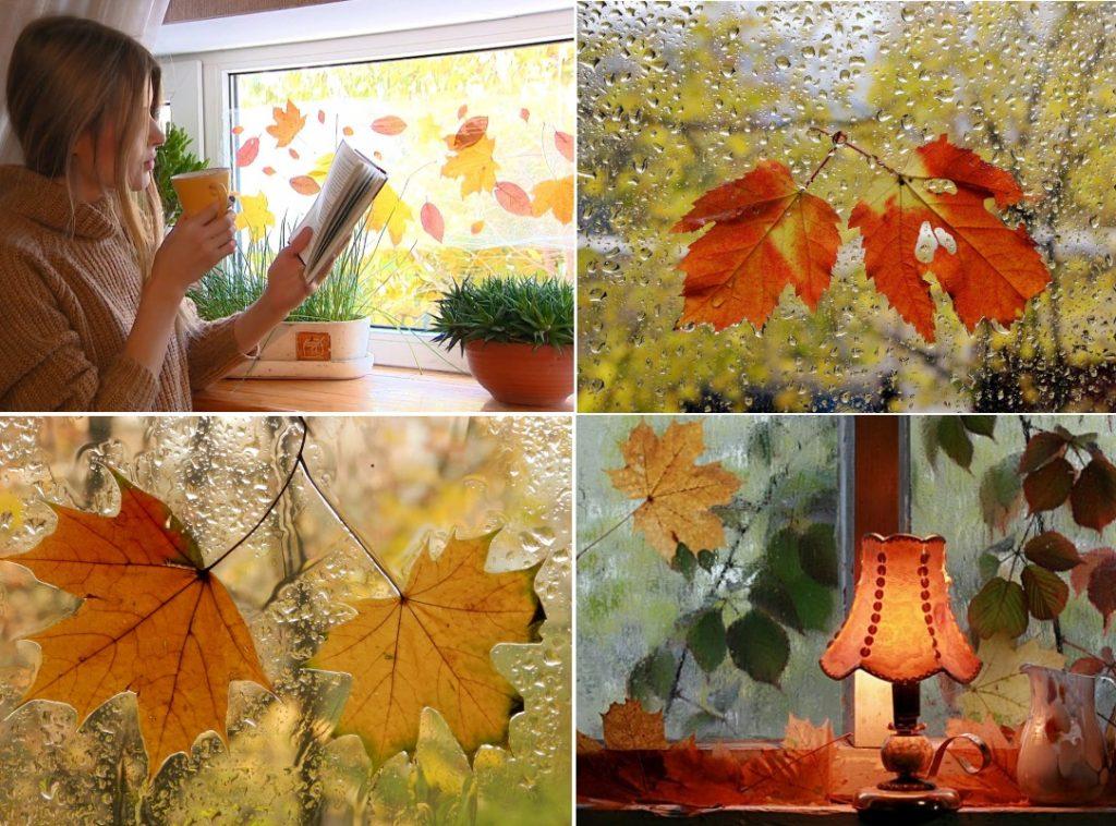 Декор окна живыми листьями