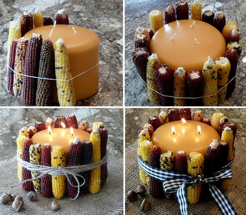 Декор подсвечника кукурузой