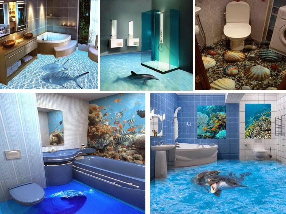 3Д полы в ванной комнате