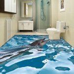 Фото 34: 3d пол с дельфинами в ванной