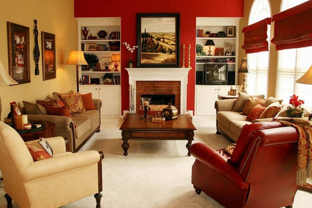 Red paint living room ideas