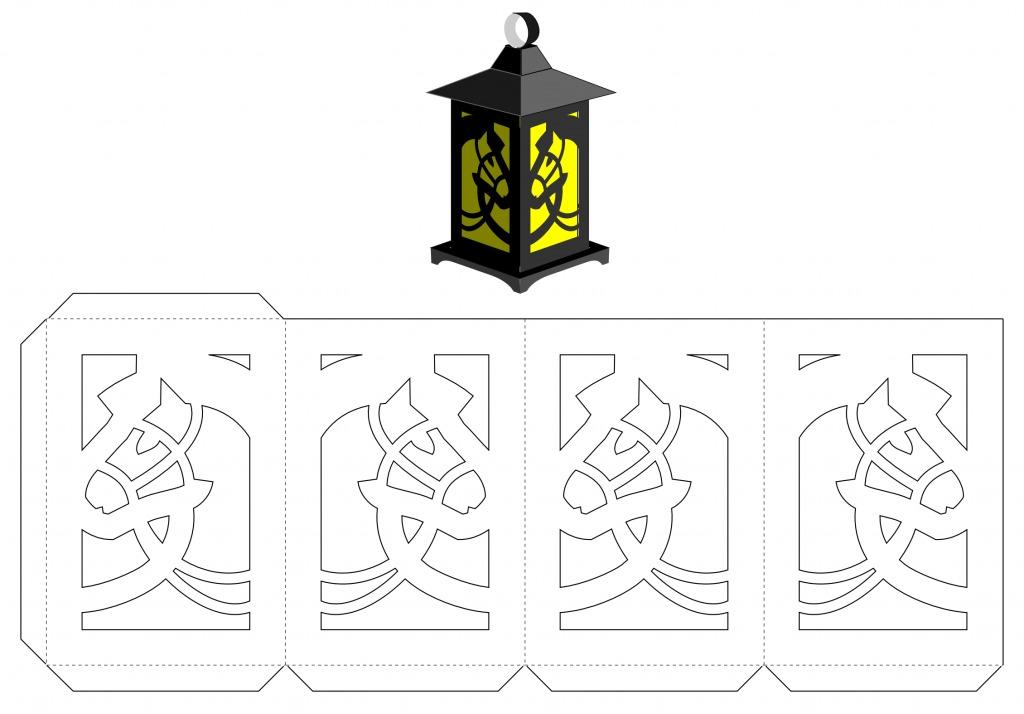 Бумажные фонарики на елку трафарет