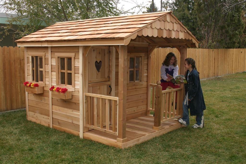 Деревянный детский домик в саду своими руками