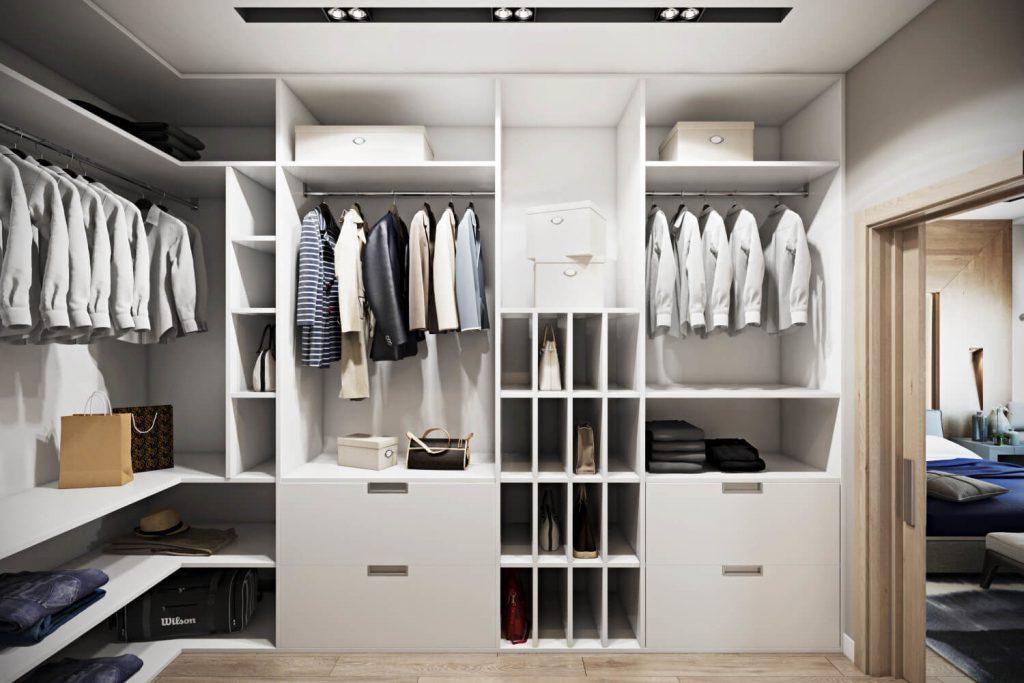 Г- образный тип планировки гардеробной
