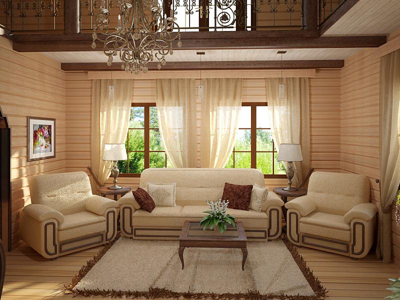Интерьер для дачного дома из бруса
