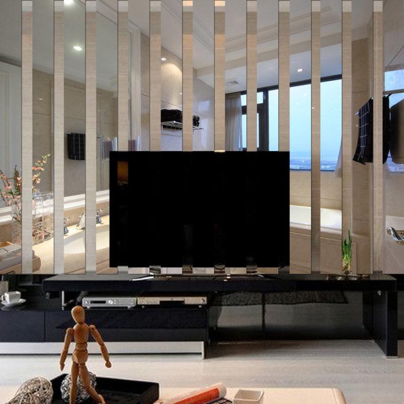 Оригинальное оформление гостиной с телевизором